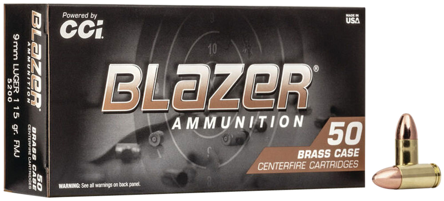 CCI BLAZER BRASS 9MM 115 GRAIN FULL METAL JACKET 50 ROUNDS/BOX 5200