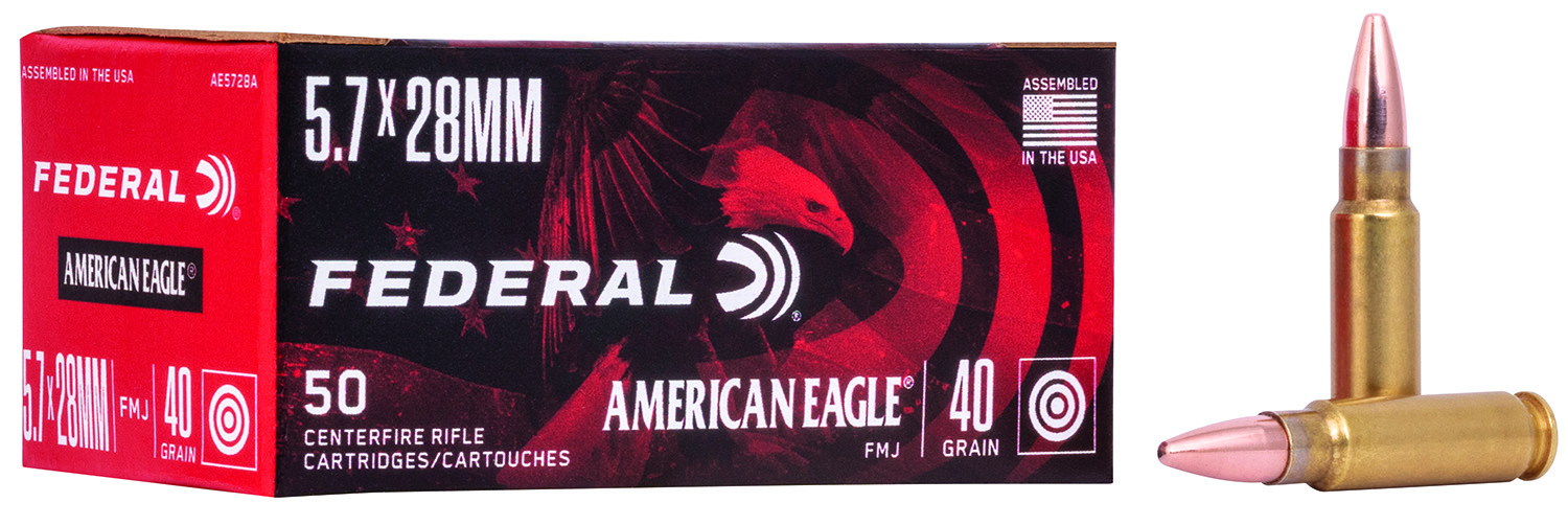 FEDERAL AMERICAN EAGLE 5.7X28MM 40 GRAIN FULL METAL JACKET 50 ROUNDS/BOX AE5728A