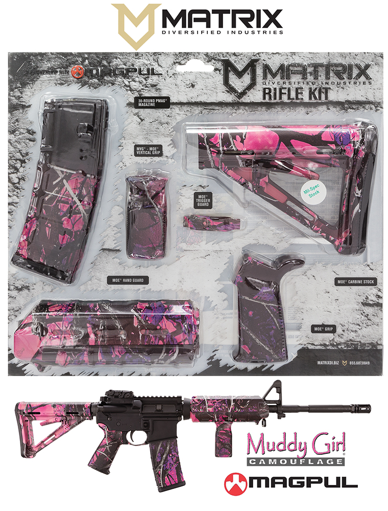 MDI MAGMIL03MG Magpul MilSpec AR-15 Furniture Kit Pink Muddy Girl Camo